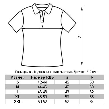 Фактические размеры рубашек поло TS-Polo Lady 190 под проймой и по спинке